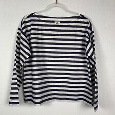 NEW NWT Thomas Mason for J. Crew Boatneck Top sz 10 navy/white stripes #G4918