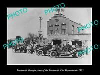 OLD POSTCARD SIZE PHOTO BRUNSWICK GEORGIA THE FIRE DEPARTMENT & STATION 1925 2