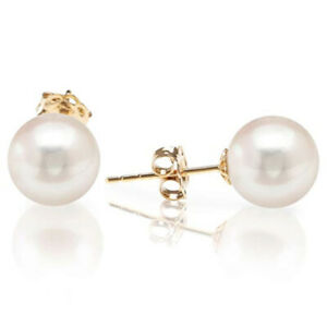 Womens Solid 14k Yellow Gold 14mm Round Freshwater Cultured Pearl Stud Earrings