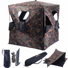 Ground Hunting Blind Portable Deer Pop Up Camo Hunter Weather Proof Mesh Window