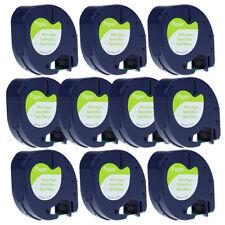 10PK Compatibel DYMO 91330 White Paper LetraTag 12mm Label Tape 91200 91220 QX50