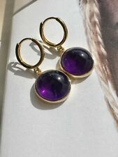 Genuine Amethyst & Solid 14k Yellow Gold Dangle/Huggie Earrings, New