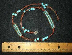 CHAN LUU TURQUOISE beads leather wrap bracelet