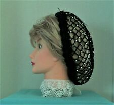 CIVIL WAR, VICTORIAN, HAND MADE CROCHET, BLACK JEWELED  SNOOD 100% COTTON