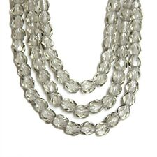 GLASS BEADS 4mm ROUND FACETED CZECH FIREPOLISHED GREY SILVER 100pc
