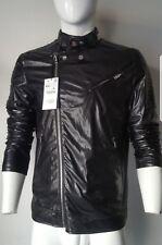 NWT Zara Men's Faux Leather Black Biker Full Zip Jacket Size XXL Slim Fit