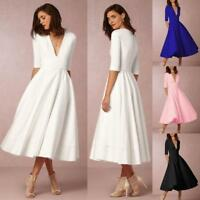 Women Ladies Vintage Ball Gown Prom Cocktail Evening Party Swing Long Maxi Dress