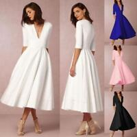 Lady Women Vintage Long Ball Gown Prom Cocktail Ladies Evening Party Swing Dress