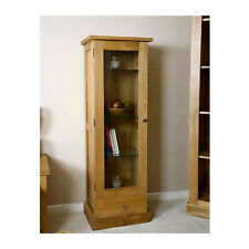 Solid Oak Display Cabinet | Light Oak Display Cabinet with Glass Door | Glenmore