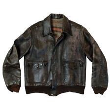 New listing Vintage 1940s Blanket Lined Horsehide Leather A-2 Style Flight Jacket 38