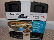 Hamilton Beach Three Section Baking Pan Lasagna Breads 3 Different Sections New