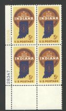 Vintage Unused US Postage Block 5 Cent Stamps INDIANA SESQUICENTENNIAL 1816-1966