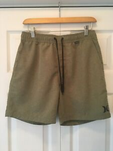 """HURLEY Mens Volley Boardshorts Size Small 30X16"""" Olive Green W/ Pockets NICE"""