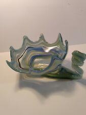 Vintage  Blown Art glass swan bowl Blue white Swirl Large 11 x 9 x 5.5 inches