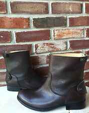 $318 FRYE Melissa Button Back Zip Short Brown Antique Leather Boots 6.5 CLASSIC*