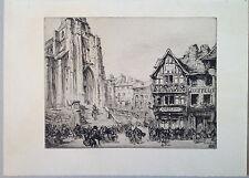 Henry CHEFFER gravure eau forte le marché au beurre à Lisieux Normandie 1900