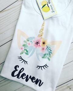 Unicorn Birthday shirt with name for girl