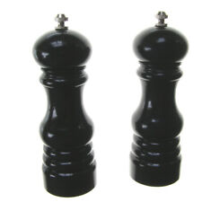 PAIR OF PEPPER & SALT GRINDERS. BLACK ACRYLIC PAIR OF SALT & PEPPER GRINDERS
