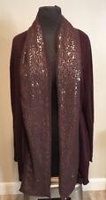 Marla Wynne Maroon Sequin Collar Open Cardigan Sweater Plus Sz 1X Holiday
