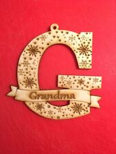 Personalised Christmas Tree Decoration Ornament Laser Cut Letter and Name 1j