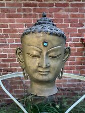 New listing Antique Chinese Asian Primitive Bronze Sculpture Buddha Head W/ Turquoise 15�