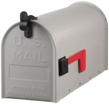 Post Mount Mailbox Galvanized Steel Ribbed Grey Rural Rust Resistant Mail Box