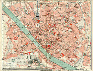 Florence Firenze Centro Storico Florence City Map From 1897