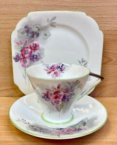 "Shelley Eve Shape ""Nemesia"" Pattern 12285 Tea Cup Trio."