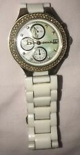 DKNY White and Gold Watch Jewelled Bezel Ceramic