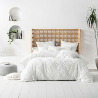 Linen House Palm Springs White Cotton Quilt Cover Set | Queen King Super King