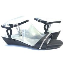 Dyeables Inc Womens Mallory Dress Sandal Wedge Black Satin Memory Foam 8.5 M US
