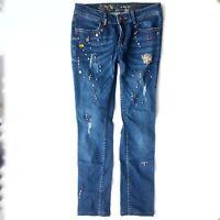 Desigual Women's Denim Jeans Studded Embellished Ankle Ankle Straight Leg 28