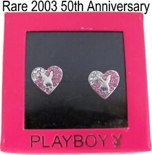 RARE 50TH ANNIVERSARY Playboy Earrings Heart Stud Bunny Pink Swarovski Crystal