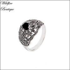 Vintage Silver Marcasite Style Filigree Ring w/ Black Zircon Stone & Diamante