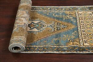 Vintage Muted Geometric Authentic Oushak Turkish Hand-knotted Area Rug Wool 2x4