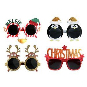 Pack of 4 Novelty Christmas Sunglasses (#Elfie, Penguin, Reindeer and Christmas)