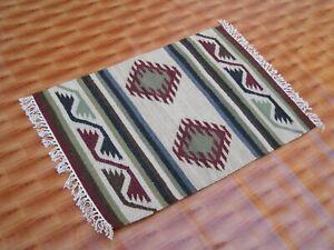 Dhurrie Rug Afghan Floor Mat Hand Woven 2x3 ft Turkish Multi Color Wool Kilim