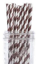 Dress My Cupcake Chocolate Brown Striped Paper Straws, 100-Pack