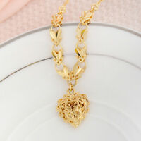 18K Gold Filled Filigree Heart Pendant Necklace Chain Fashion Lady Party Jewelry
