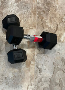 NEW FRAY FITNESS RUBBER HEX DUMBBELLS select-weight 10 Lbs Pickup Or SHIPED