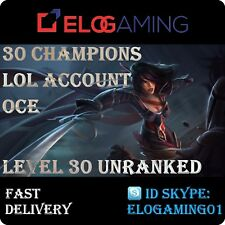 League of Legends Level 30   LoL smurf   Unranked 30 Champions   Account OCE