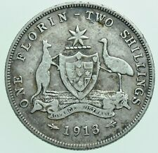 More details for rare australia george v florin two shilling, 1913 (l) royal mint silver coin avf