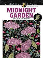 Creative Haven Midnight Garden Coloring Book Heart & Flower Designs on a