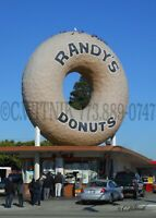 Original PHOTOGRAPH of a giant donut sign that is for RANDY'S DONUTS -California