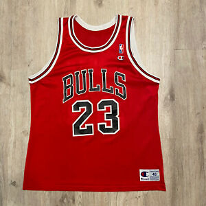 Vintage Champion Michael Jordan Jersey Chicago Bulls NBA Vintage 90s Size 48 Red