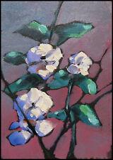 Wm HAWKINS  White  Floral Canvas Art Impressionist Flowers Oil Painting Original