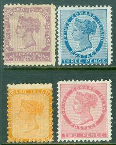 EDW1949SELL : PRINCE EDWARD 1862-65 Scott #4-6, 8 Mint OG. Faulty. Catalog $162.