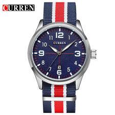 CURREN Mens Fashion Quartz Waches Canvas Strap Casual Date Analog Wristwatch New