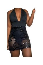 Black Deep plunge v neck halter neck Backless dress Sequin mesh mini dress