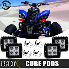"4pc 3""x3"" inch LED WORK LIGHT BAR Cube Pods SPOT For Yamaha Raptor 660R 700 700R"